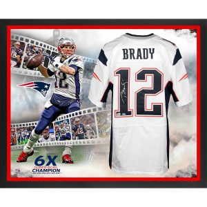 Autographed New England Patriots Tom Brady Fanatics Authentic Framed Super Bowl LIII Champions Nike White Elite Jersey 6-Time Champion Collage – TRISTAR