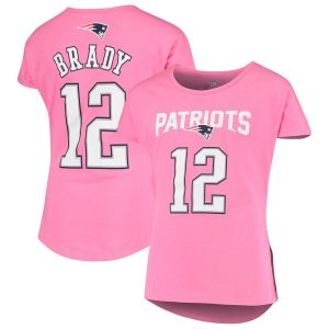 Girls Youth New England Patriots Tom Brady Pink Dolman Mainliner T-Shirt