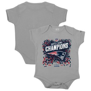 Infant New England Patriots  Heather Gray Super Bowl LIII Champions Bodysuit