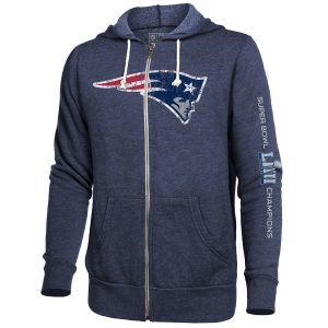 Men's New England Patriots Navy Super Bowl LIII Champions Victorious Full-Zip Hoodie