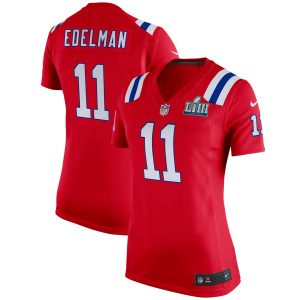 Women's New England Patriots Edelman Nike Red Super Bowl LIII Bound  Jersey