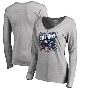 Women's New England Patriots Super Bowl LIII Champions  V-Neck Long Sleeve T-Shirt