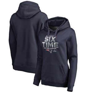 Women's New England Patriots Navy 6-Time Super Bowl Champions Hometown Pullover Hoodie