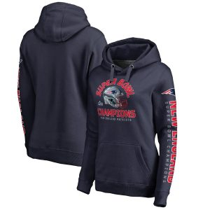 Women's New England Patriots Navy Super Bowl LIII Champions Two Minute Drill Pullover Hoodie
