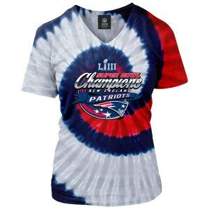 26e541808 Women s New England Patriots Navy Red Super Bowl LIII Champions Tie Dye  Spiral V-