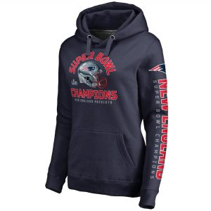 New England Patriots NFL Pro Line by Fanatics Branded Women's Super Bowl LIII Champions Two Minute Drill Pullover Hoodie – Navy