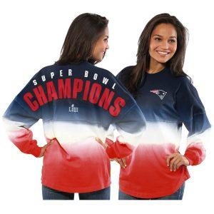 New England Patriots NFL Pro Line by Fanatics Branded Women's Super Bowl LIII Champions Long Sleeve Spirit Jersey T-Shirt – Navy/Red