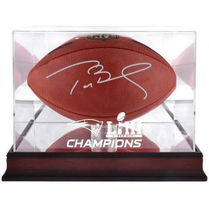 Autographed New England Patriots Tom Brady Fanatics Authentic Duke Football with Mahogany Base Super Bowl LIII Champions Football Display Case – TRISTAR