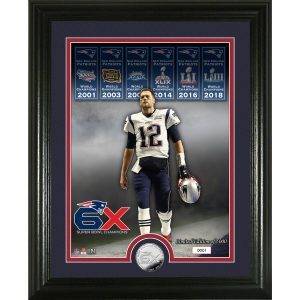 "Tom Brady New England Patriots Highland Mint 6-Time Super Bowl Champions 13"" x 16"" Silver Coin Photo Mint"