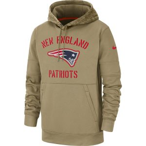 New England Patriots Nike 2019 Salute to Service Sideline Therma Pullover Hoodie – Tan