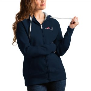 Antigua New England Patriots Women's Navy Victory Full-Zip Hoodie
