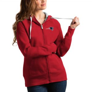Antigua New England Patriots Women's Red Victory Full-Zip Hoodie