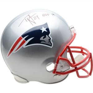 "Autographed New England Patriots Ty Law Riddell Replica Helmet with ""HOF 19"" Inscription"