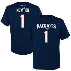 Youth New England Patriots Cam Newton Navy Name & Number T-Shirt