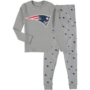 Youth New England Patriots Heathered Gray Long Sleeve T-Shirt & Pants Sleep Set